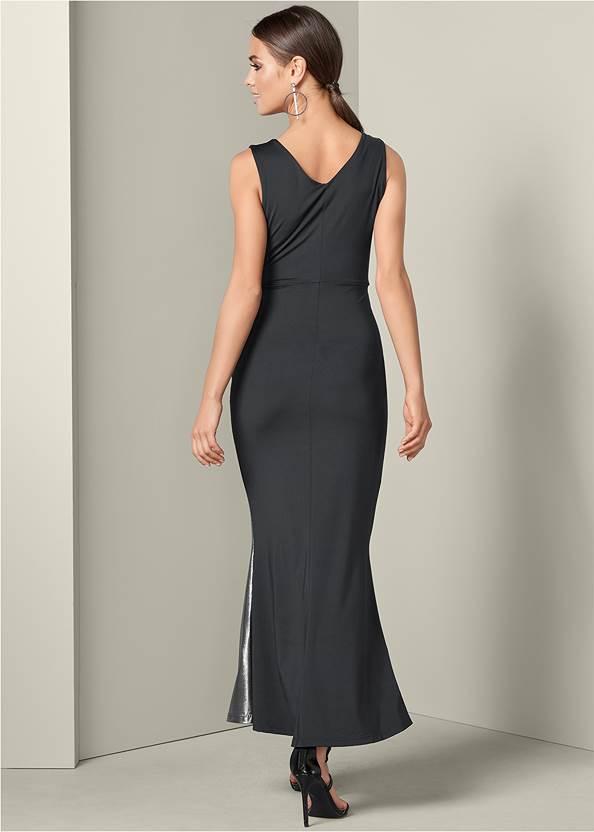 Back View Metallic Detail Long Dress