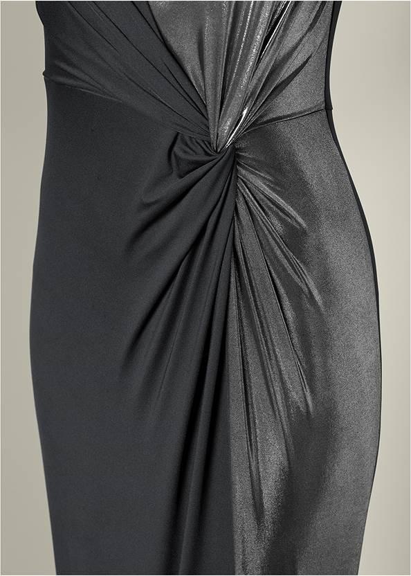 Alternate View Metallic Detail Long Dress