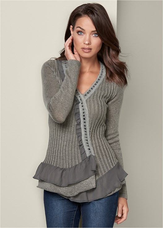CHIFFON DETAIL SWEATER,COLOR SKINNY JEANS,WRAP STITCH DETAIL BOOTIE