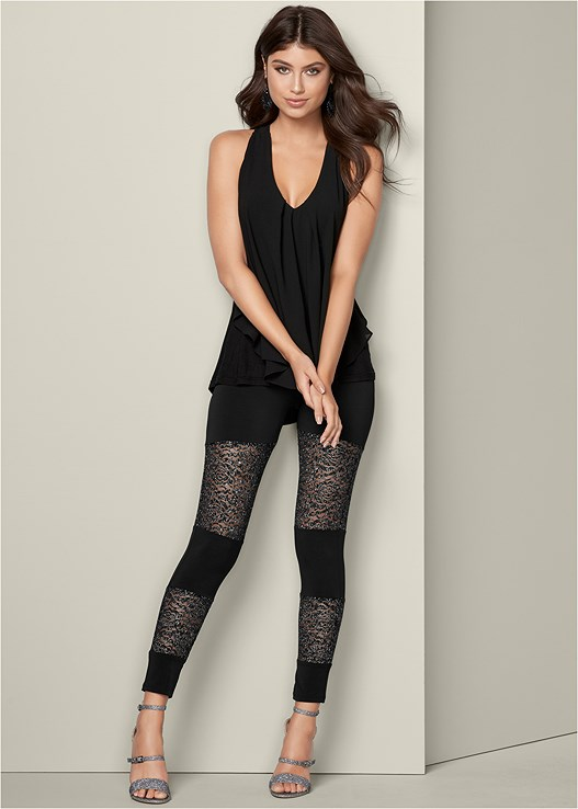 LACE INSET LEGGINGS,BUCKLE DETAIL STRAPPY HEELS