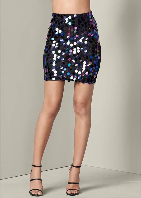 Front View Paillette Sequin Skirt