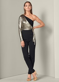 Front View Metallic Detail Jumpsuit