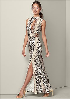 cut out printed maxi dress