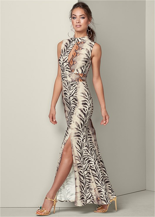CUT OUT PRINTED MAXI DRESS,EMBELLISHED FLOWER HEEL