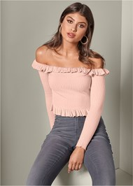 Front View Off The Shoulder Sweater