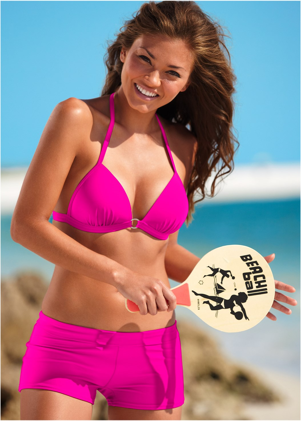 Swim Short,Enhancer Push Up Ring Halter Triangle Top