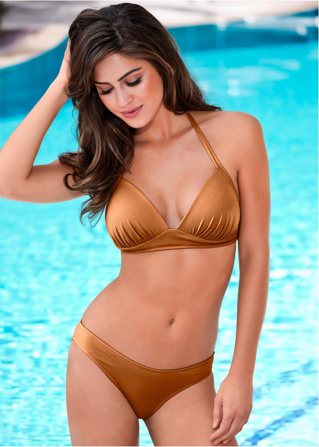 Perfection Push Up Halter,Scoop Front Classic Bikini Bottom