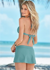 Back View Mid Rise Swim Skirt Bikini Bottom