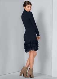 Back View Ruffle Hem Sweater Dress