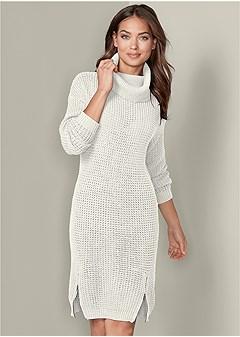 zip detail sweater dress