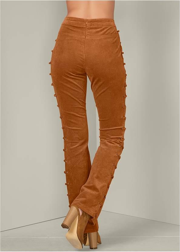 BACK VIEW Lace Up Corduroy Pants
