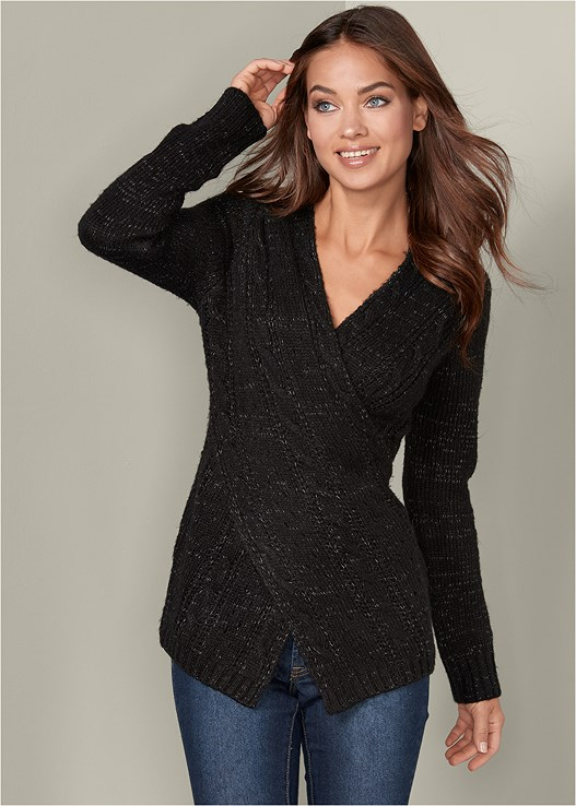ASYMMETRICAL FRONT SWEATER,COLOR SKINNY JEANS,SLOUCHY MID CALF BOOT