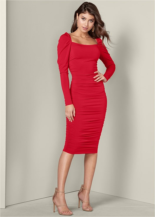 a6ec9f086f7 RUCHED DETAIL BODYCON DRESS in Red