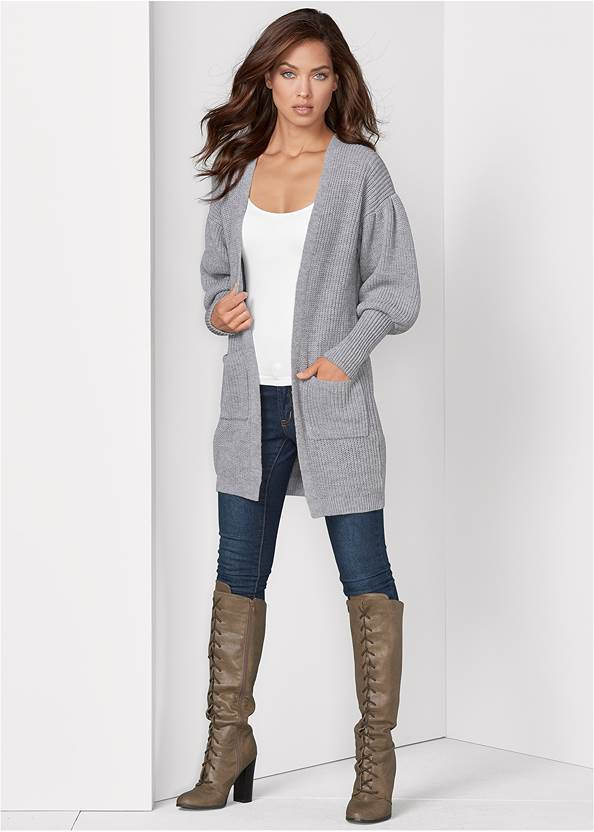 Oversized Cardigan,Basic Cami Two Pack,Mid Rise Color Skinny Jeans,Lace Up Tall Boots,Circle Detail Booties,Beaded Fringe Medallion Earrings,Python Clutch