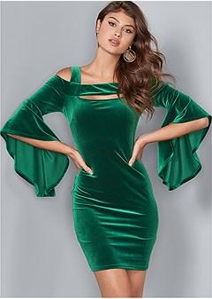 velvet sleeve detail dress