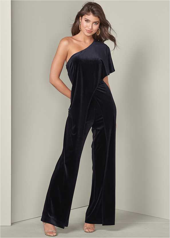 Ruffle Detail Jumpsuit,Smooth Longline Push Up Bra,High Heel Strappy Sandals