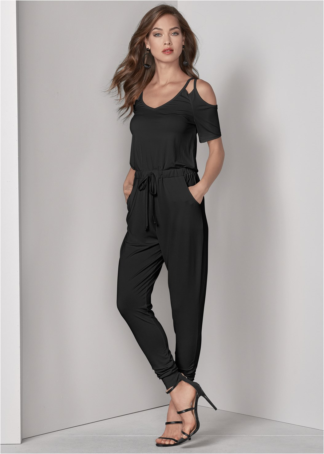 Cold Shoulder Jumpsuit,Natural Beauty Lace Bandeau,High Heel Strappy Sandals,Block Heels,Bauble Hoop Earrings,Quilted Belt Bag