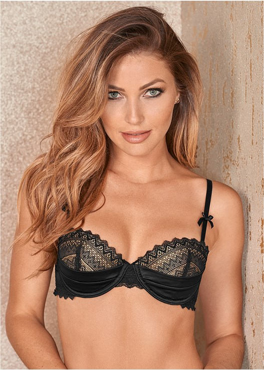 LACE AND SATIN PUSH UP BRA in Black  8fd4c2cfe