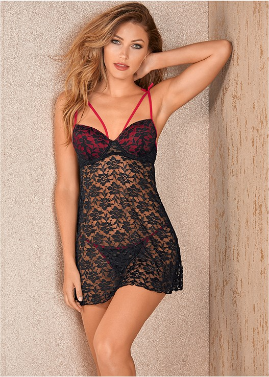 STRAPPY SHEER LACE BABYDOLL