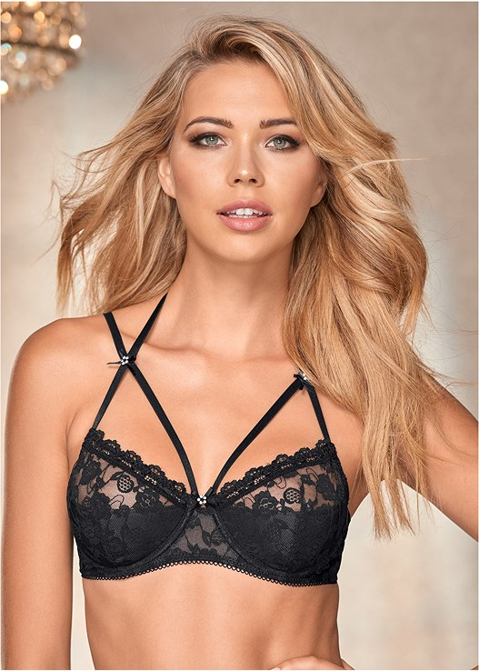 STRAPPY LACE BLACK BRA