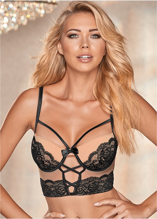 STRAPPY LACE LONGLINE BRA,LACE CUT OUT BIKINI PANTIES