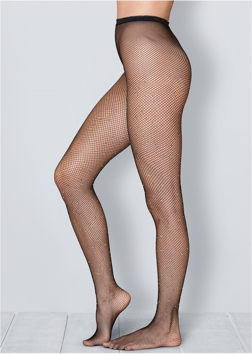 Rhinestone Fishnet Tights,Embellished Dress,Buckle Detail Boots