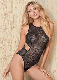 Front View Sheer Lace Cut Out Bodysuit