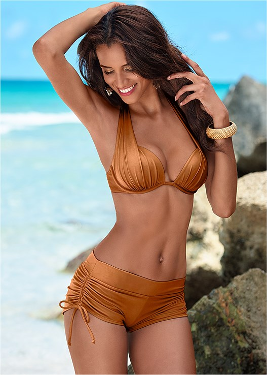 ADJUSTABLE SIDE SWIM SHORT,MARILYN PUSH UP BRA TOP