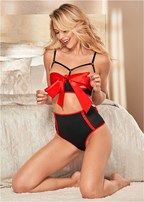 high waist bow back panties
