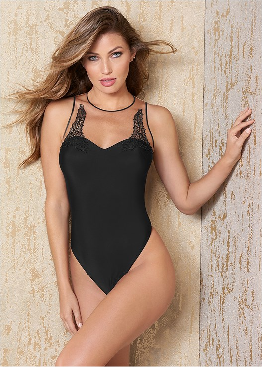 Black APPLIQUE THONG BODYSUIT from VENUS bf4318ba6