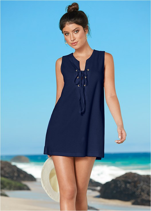TERRY LACE UP DRESS