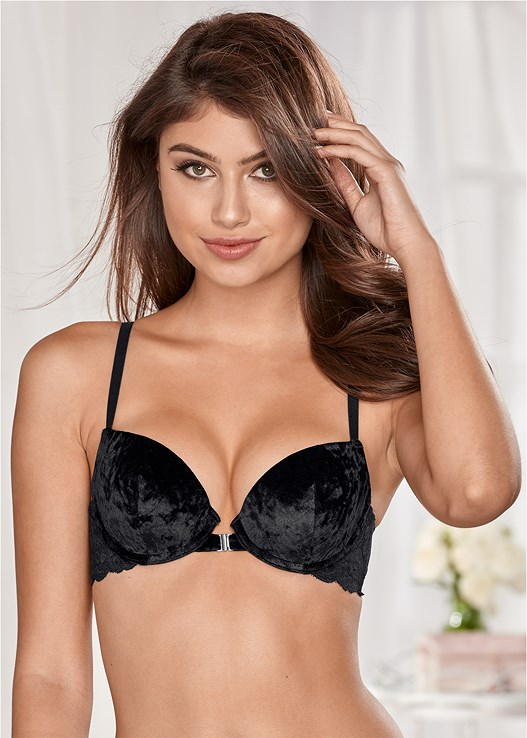 CRUSHED VELVET PUSH UP BRA,VELVET LACE CHEEKY PANTIES