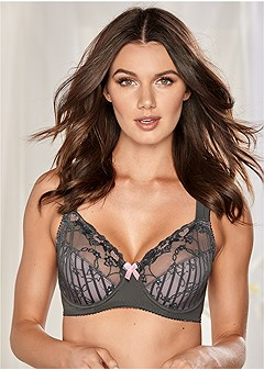 8482df0cfc5 Grey   Pink LACE DETAIL MINIMIZER BRA from VENUS