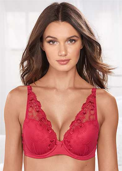 Embroidered Wide Strap Bra