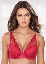 Front View Embroidered Wide Strap Bra