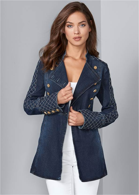 Button Detail Jean Jacket,Basic Cami Two Pack,Mid Rise Color Skinny Jeans,Embellished Wedges,Color Block Hoop Earrings,Two-Tone Crossbody Bag