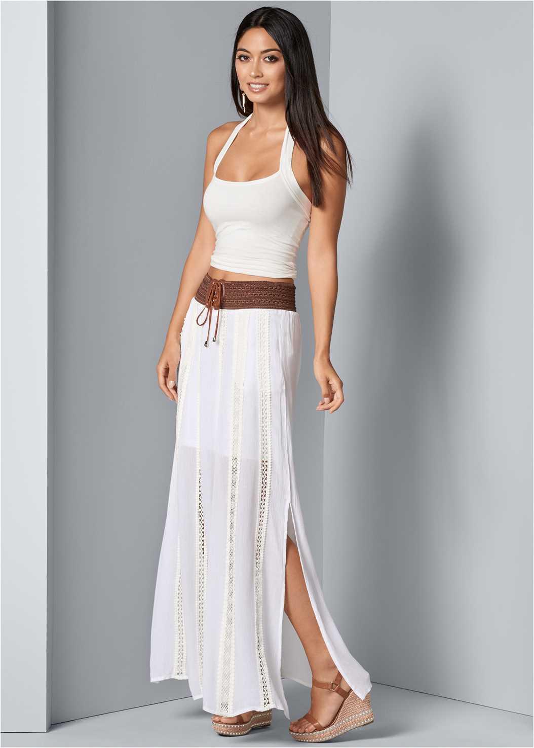 Lace Detail Maxi Skirt,Long Chain Pendant Necklace