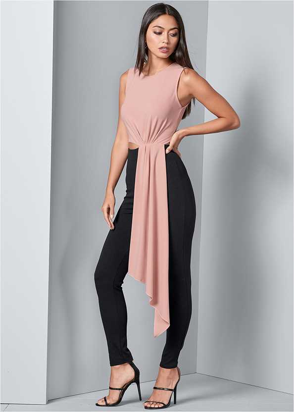 Drape Cut Out Jumpsuit,High Heel Strappy Sandals