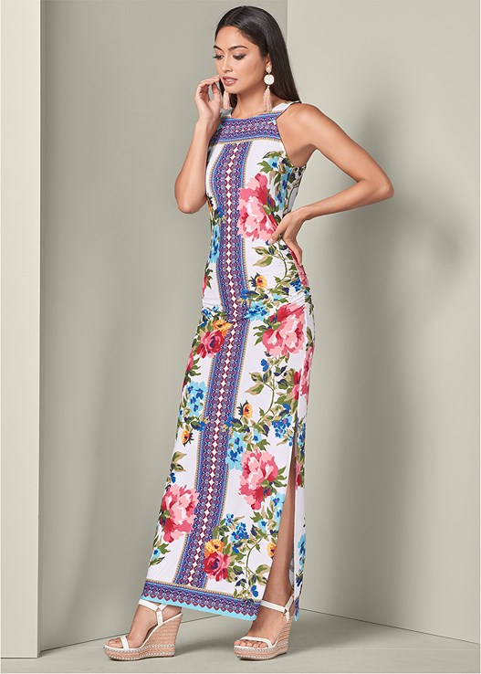 PRINTED MAXI DRESS,STUDDED WEDGES,CIRCLE FRINGE EARRINGS