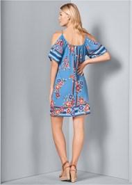 Back View Cold Shoulder Print Dress