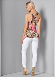 Back View Embellished Print Top