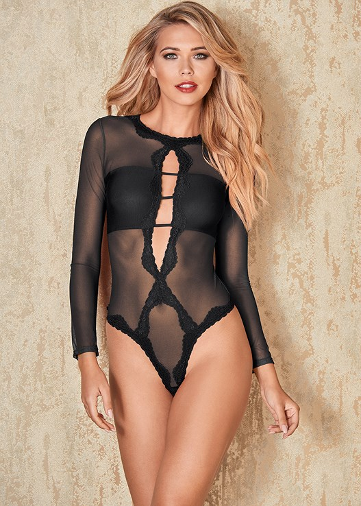 4d6500089 Black LACE KEYHOLE THONG BODYSUIT from VENUS