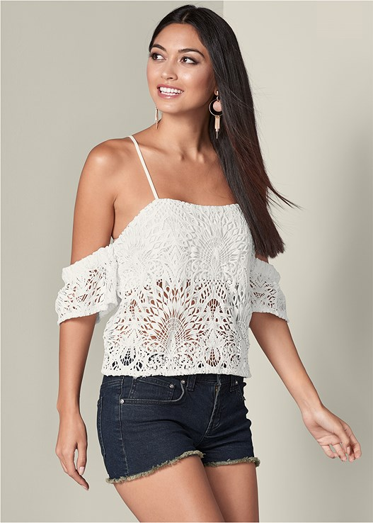 COLD SHOULDER LACE TOP,CUT OFF JEAN SHORTS,CUT OUT DETAIL BOOTS