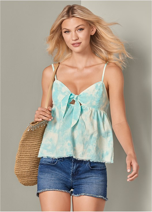 TIE FRONT TIE DYE LINEN TOP,CUT OFF JEAN SHORTS,3 PK OF PETALS