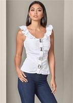 rhinestone button blouse