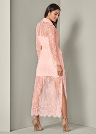 Full back view Lace Detail Coat Dress