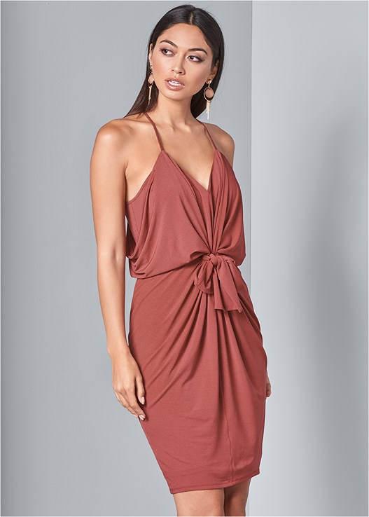 TIE DETAIL DRESS,HIGH HEEL STRAPPY SANDALS,WOOD FRINGE EARRINGS,SEAMLESS FULL BODY SHAPER