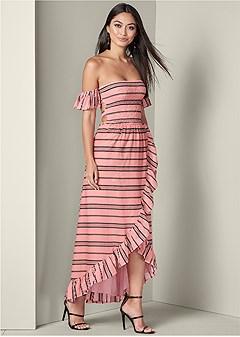 smocked ruffle detail dress