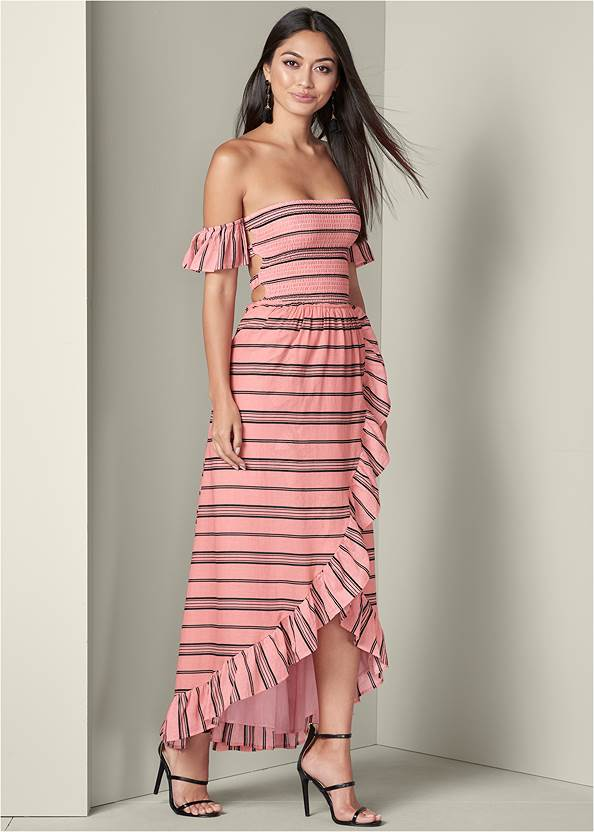 Smocked Ruffle Detail Dress,High Heel Strappy Sandals