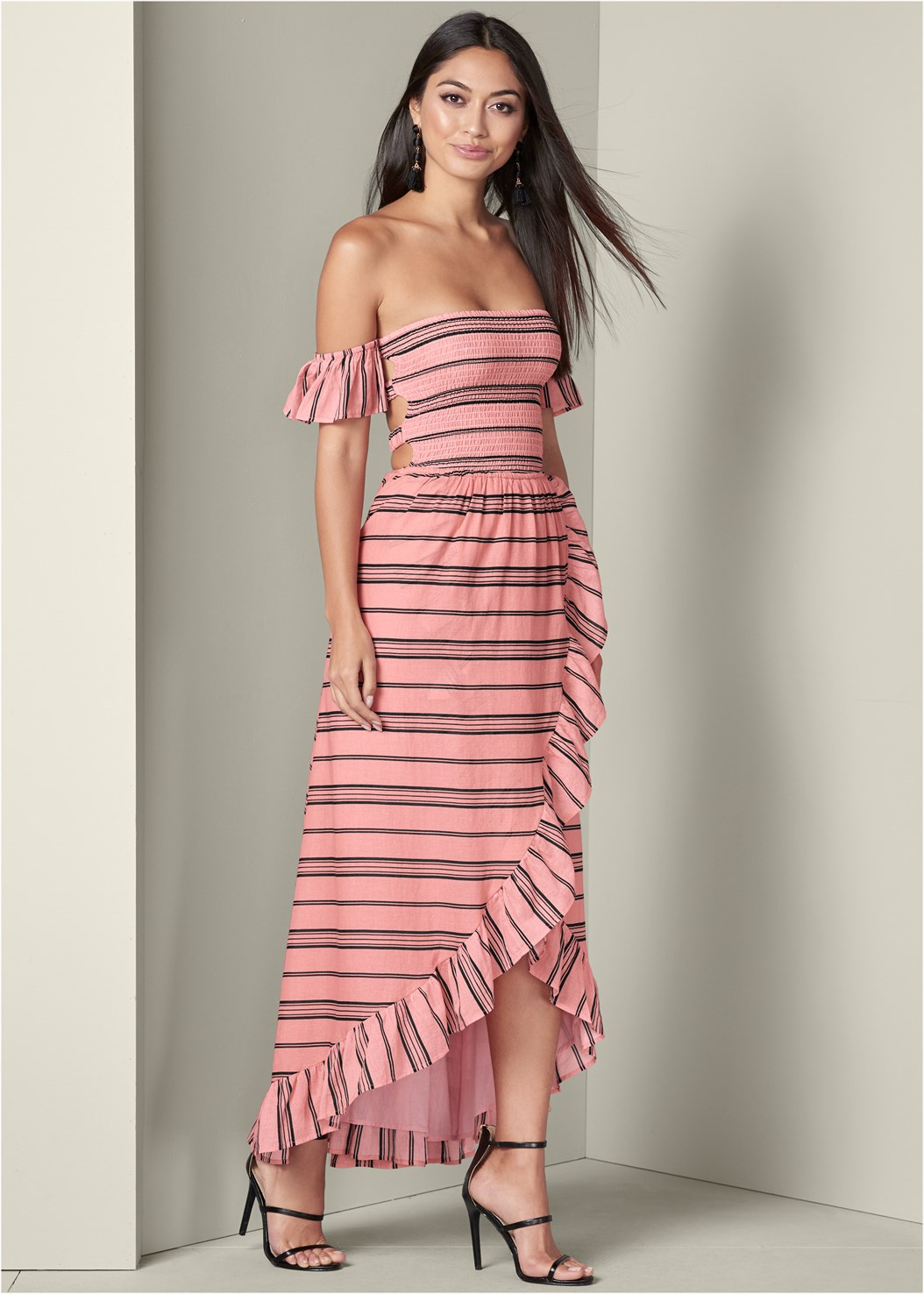 Smocked Ruffle Detail Dress,High Heel Strappy Sandals,Bauble Fringe Earrings